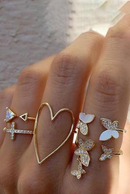 Druppelende vlinder hartvormige ringset