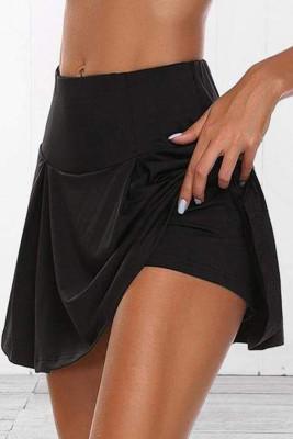 Falda pantalón plisada elástica atlética negra para correr, golf, yoga