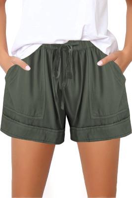 Зеленые шорты для девочек на резинке с кулиской и карманами