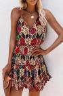 فستان قصير بحزام سباغيتي مرن بخصر مرن بنقشة جلد الفهد