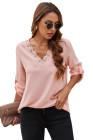 Blusa rosa de encaje con cuello en V y mangas 3/4