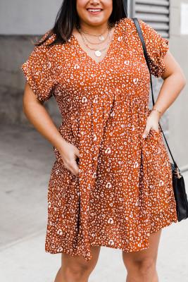 Minivestido de manga corta con estampado de leopardo y cuello en V de talla grande naranja