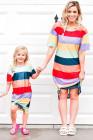 فستان تي شيرت للكبار بتصميم متناسق بين الأم والابنة