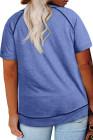 Camiseta de manga corta con cuello redondo azul de talla grande