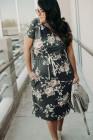 Vestido midi floral con cintura con cordón y manga corta de talla grande