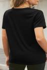 Camiseta negra con estampado de labios de neón y talla grande