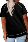 Camiseta negra de manga corta con cuello redondo y talla grande