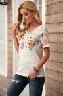 Jarní Vibe květinové a pruhované tričko
