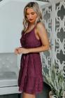 فستان قصير برباط من السباغيتي السويسري باللون الأحمر والنبيذ الأحمر