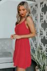 فستان أحمر قصير برباط من السباغيتي السويسري