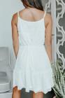 أبيض - فستان قصير برباط من السباغيتي السويسري