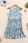 Camo Print Rozcuchané bez rukávů krátké šaty
