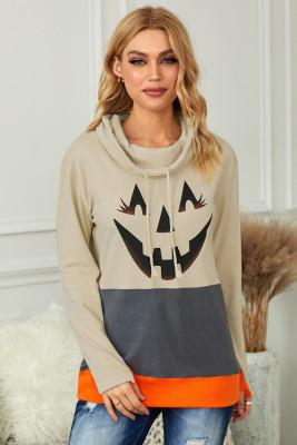 Sudadera gris con cuello vuelto y estampado de calabaza en bloques de color para Halloween