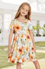 فستان ميدي زهري قصير الأكمام بياقة مستديرة أصفر