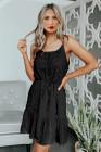 فستان أسود قصير برباط من السباغيتي السويسري