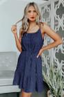 أزرق - فستان قصير برباط من السباغيتي السويسري