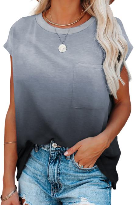 Camiseta gris de manga corta con bolsillo en color degradado