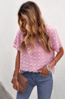 Top rosa de manga corta con textura de lunares suizos