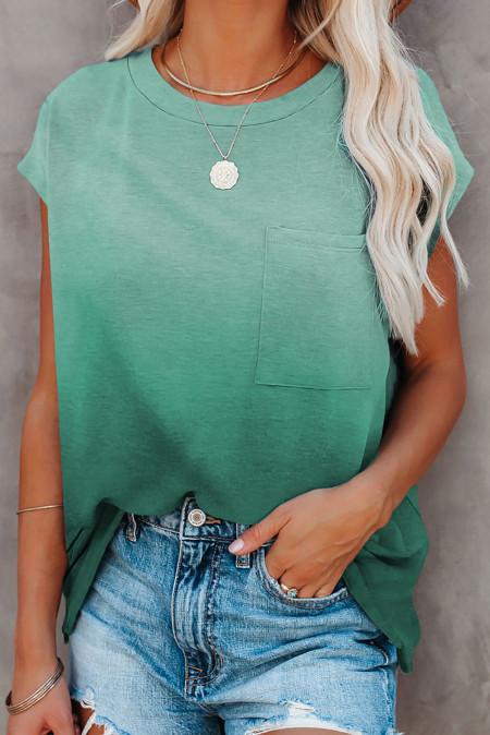 Camiseta de manga corta con bolsillo en color degradado verde