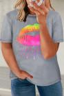 Camiseta con gráfico de labios neón gris de talla grande