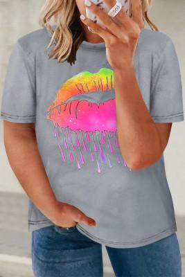 Серая футболка большого размера с неоновым рисунком на губах