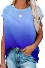 Camiseta de manga corta en color azul degradado con bolsillo