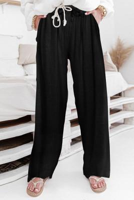 سروال أسود عالي الخصر برباط واسع الساقين