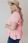 Blusa de manga corta con volantes de lunares suizos y cuello simulado rosa de talla grande