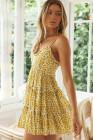 الأصفر السباغيتي الأشرطة الخامس الرقبة سموكيد فستان زهري سوينغ
