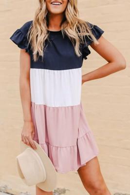 Růžové volánkové šaty s barevným blokem a dlouhým rukávem