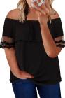 Top negro de manga corta con hombros descubiertos y talla grande