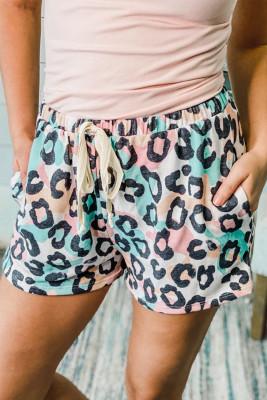 Shorts con cordón y cintura elástica con estampado de leopardo y bolsillo