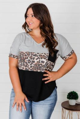 Camiseta de talla grande de leopardo a rayas con empalme en bloque de color negro