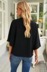 Черная драпированная блузка