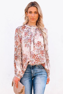 Блуза с объемными рукавами и оборками с цветочным принтом