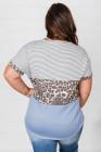 Camiseta de leopardo a rayas con empalme en bloque de color azul cielo, talla grande