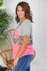 Camiseta de leopardo a rayas con empalme en bloque de color rosa, talla grande