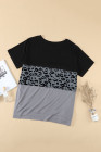 Camiseta negra con estampado de leopardo y bloques de color de talla grande