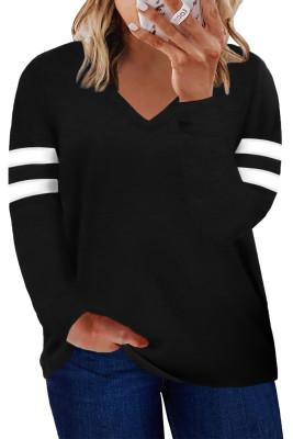 Черный топ с длинными рукавами и полосками с V-образным вырезом и вышивкой большого размера