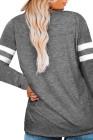 Top gris de manga larga con costuras de rayas con cuello en V y talla grande