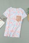 Camiseta con estampado de leopardo y bolsillo de lentejuelas