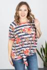 Camiseta de manga corta con cuello redondo y estampado floral a rayas de talla grande
