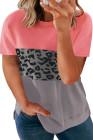 Camiseta con estampado de leopardo en color block y talla extra