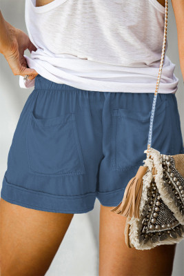 Синие шорты с карманами на резинке и кулиске