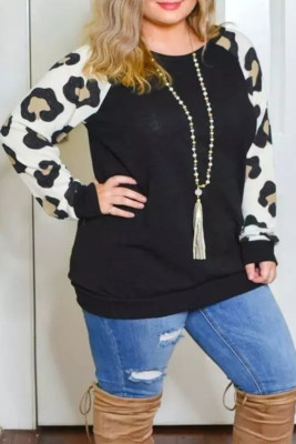 Blusa casual de manga raglán de leopardo de talla grande