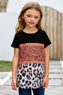 T-shirt fille marron imprimé léopard color block