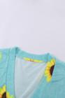 Minivestido de manga corta con cuello en V y estampado de girasol con bolsillo