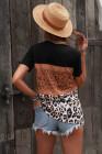 Camiseta negra con estampado de leopardo de punto de ante