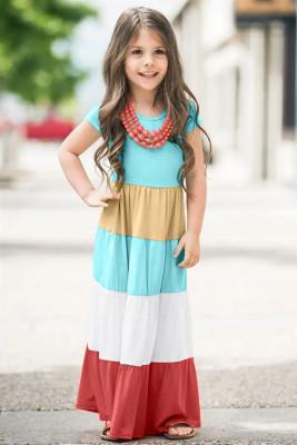 فستان ماكسي للأطفال بأكمام قصيرة متطابق للعائلة
