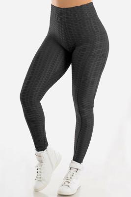 Pantalones de yoga anticelulíticos de cintura alta con bolsillos negros